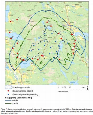 Kartbild från Holmens samrådsunderlag för de planerade vindkraftverk.